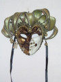 Brown Joker Punte Beethovan Venetian Masquerade Mask SKU 384jbr