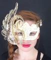 Gold and White Laser Cut Civetta Metal Venetian Mask