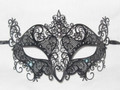 Black Laser Cut Metal Venetian Masquerade Mask with Crystals SKU N524