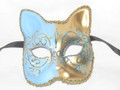 Light Blue Gatto Lillo Venetian Masquerade Cat Mask SKU 062llbl