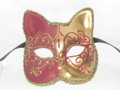 Red Gatto Lillo Venetian Masquerade Cat Mask SKU 062lr