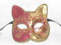 Red Gatto Lillo Venetian Masquerade Cat Mask SKU 062lr