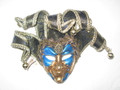 Blue Gold Miniature Joker Ricamo Venetian Decorative Mask SKU P163-A