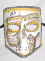 Yellow Music Bauta Pergamena Venetian Masquerade Mask SKU 117py