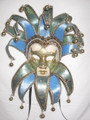 Light Blue Jolly 17 Pt Venetian Carnival Mask SKU 327