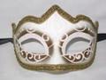 White Colombina Punta Linea Venetian Masquerade Mask SKU P179-1