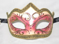 Pink Gold Colombina Punta Riga Venetian Masquerade Mask SKU P178-1