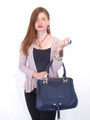 Black Leather Italian Luxury Handbag Tote Bag Purse by Besso B12