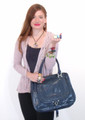 Blue Snakeskin Italian Luxury Handbag Tote Bag Purse by Besso B13