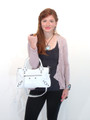 40% OFF Sale! White Leather Luxury Italian Motorcycle Handbag Tote Purse by Bruno B17
