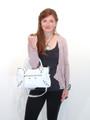 Sale! White Leather Luxury Italian Motorcycle Handbag Tote Purse by Bruno B17