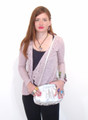 Silver Snakeskin Italian Luxury Clutch Shoulder Purse by Besso B28