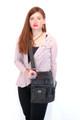 Black Leather Italian Luxury Shoulder Bag Purse  by Besso B22