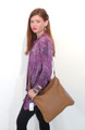 Camel Woven Leather Luxury Italian Shoulder Bag Purse by Besso B24