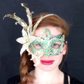 Green/Gold  Venetian Fiori Nuove Mask Venetian Mask SKU: 002Z