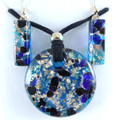Blue Black Gold Murano Glass Necklace & Earrings Jewelry Set SKU 12MG