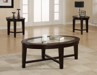 3 Piece Occasional Table Set with Tempered Glass Insert