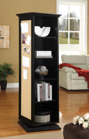 Black Swivel Cabinet with Storage Shelves, Cork Board, and Mirror