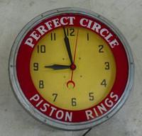 PERFECT CIRCLE PISTON RINGS NEON CLOCK