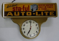 AUTO-LITE BATTERIES LIGHTED CLOCK