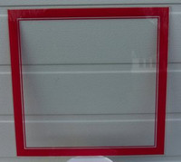 LACKNER RED NEON SQUARE CLOCK GLASS