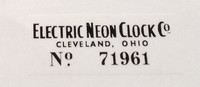 SERIAL NUMBER DECAL CLEVELAND NEON CLOCK