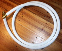 "10FT CLOTH GAS PUMP HOSE 1"" BRASS ENDS"