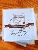 Set of 4 glass coasters. Etched with the 100 year State Park Centennial Logo.