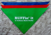Large bandanas have a neck circumference of 28 inches untied. Large bandanas come in green red, and blue.