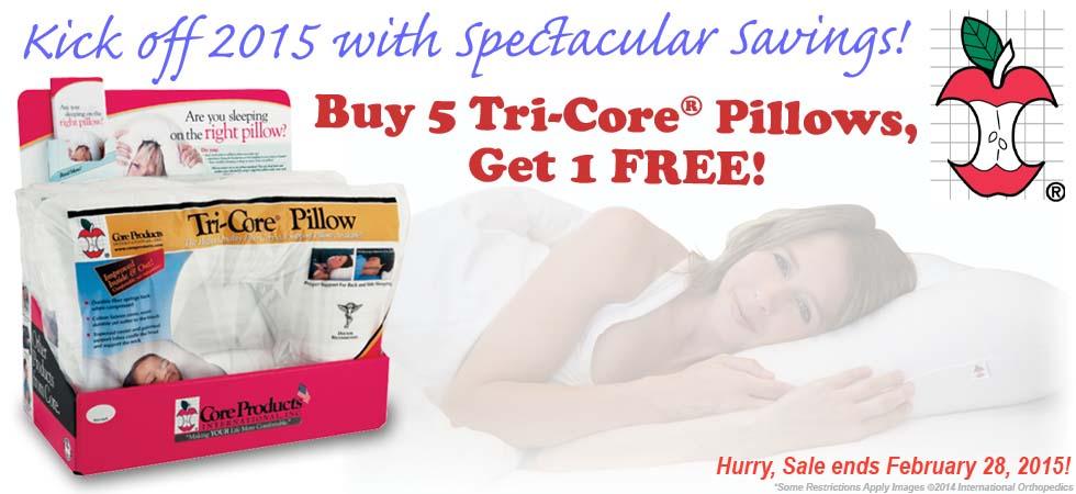 Buy 5 Tri-Core Pillows, Get 1 Free!