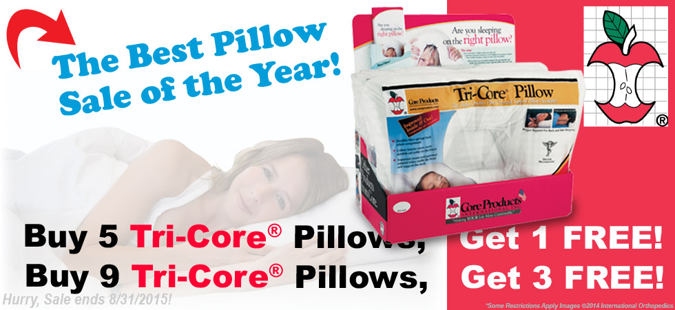 Tri Core Pillow Sale Buy 5 Get 1 FREE or Buy 9 Get 3 Free