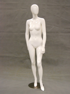 Patty, Gloss White Abstract Egg Head Female Mannequin MM-GS8W1