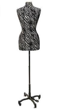 Zebra Cover Female Body Form Size 6/8 with Caster Base MM-JF6/8PU-ZBC Black Caster Base