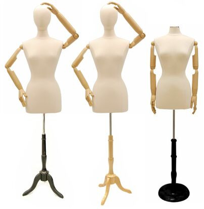 Cream Female Body Form with Head and Poseable Arms with Base MM-JF6/8WARM