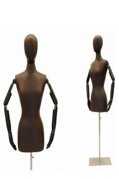 Brown PU Leather Female Body Form with Head and Pose-able Arms with Base MM-JF6/8BNARM