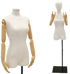 White Linen Female Body Form with Head and Poseable Arms with Base JF-1WLARMF Rectangle Black Base