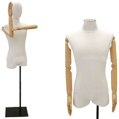 White Linen Male Body Form with Head and Poseable Arms with Base MM-1WLARMM Rectangle Black Base