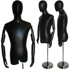 Black PU Leather Male Body Form with Head and Poseable Arms with Base MM-603BL