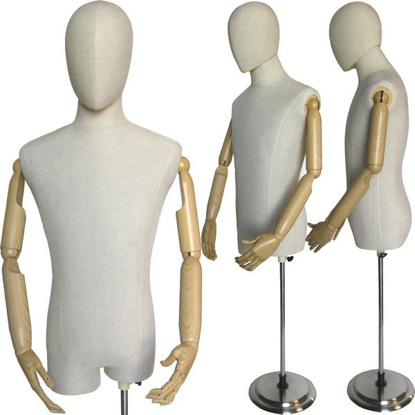 White Linen Male Body Form with Head and Poseable Arms with Base MM-603WL