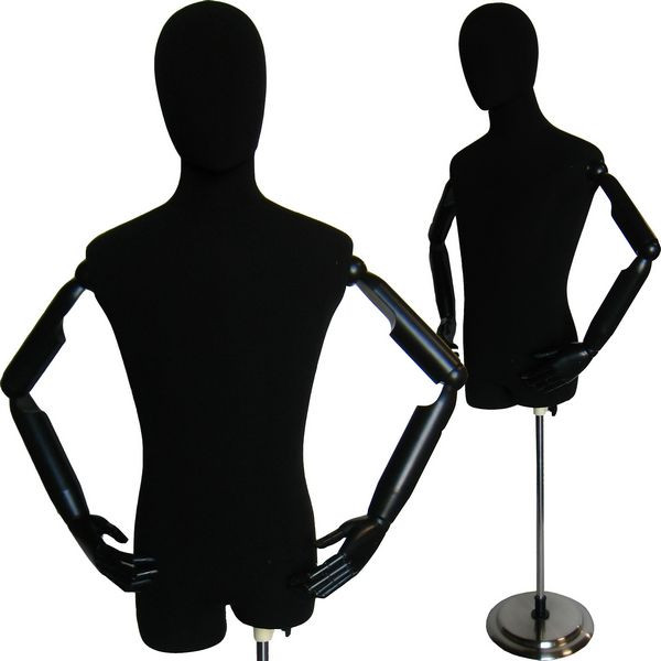 Black Velvet Male Body Form with Head and Poseable Arms with Base MM-603BV (MM-603BV)
