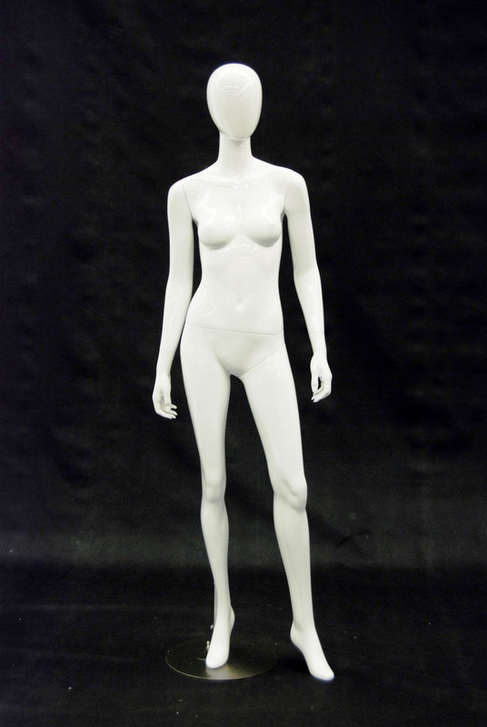 Judy, Gloss White Abstract Egg Head Female Mannequin MM-A3W1