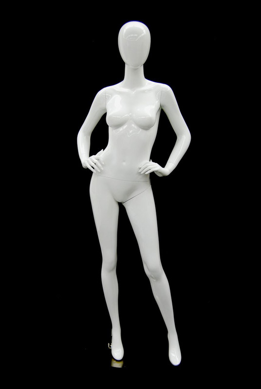 Courtney, Gloss White Abstract Egg Head Female Mannequin MM-A4W1
