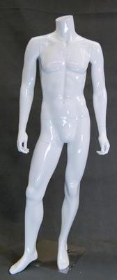One Day Rental -- Gloss White Headless Male Mannequin MM-MA2BW1R