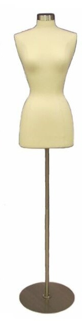 One Day Rental --  Cream Jersey Knit Female Hard Foam Dress Form size 6/8 with Base JF-6/8W-BS04R