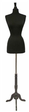 One Day Rental --  Black Jersey Knit Female Hard Foam Dress Form size 6/8 with Base JF-6/8BK-BS02R