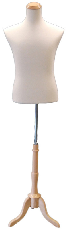 One Day Rental --  Male Cream Jersey Knit Female Hard Foam Dress Form with Base JF-33M01W-BS01R