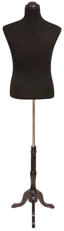 One Day Rental --  Male Black Jersey Knit Female Hard Foam Dress Form with Base JF-33M02B-BS02R