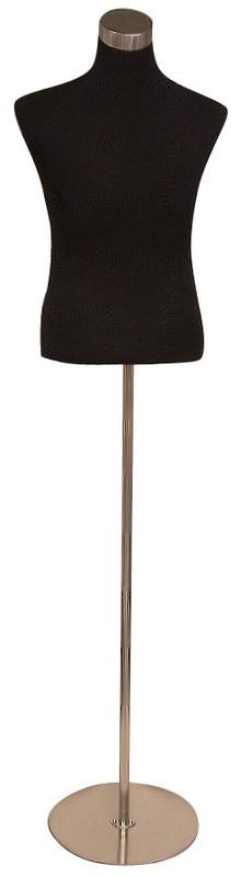 One Day Rental --  Male Black Jersey Knit Female Hard Foam Dress Form with Base JF-33M02B-BS04R