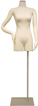 One Day Rental --  Cream Jersey Knit Female Foam Dress Form with Flexible Arms and Base JF-F01ARM-BS05R