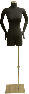 One Day Rental --  Black Jersey Knit Female Foam Dress Form with Flexible Arms and Base JF-F02ARM-BS05R